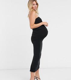 Черное платье-бандо макси с высоким разрезом Club L London Maternity-Черный