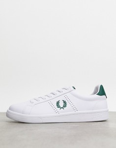 Белые кожаные кроссовки Fred Perry - B721-Белый