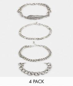 Набор серебристых браслетов-цепочек с подвеской-пером ASOS DESIGN-Серебряный
