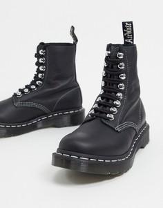 Черныеботинки с 8 парамилюверсов-крючков Dr Martens-Черный