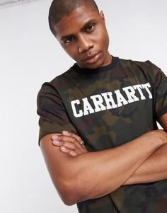 Зеленая камуфляжная футболка с короткими рукавами Carhartt WIP-Мульти