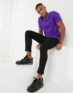 Фиолетовая футболка с глубоким вырезом ASOS DESIGN-Фиолетовый