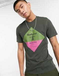 Темно-зеленая футболкас большим логотипом Barbour Beacon-Зеленый