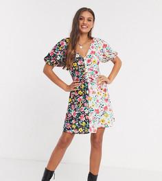 Платье минис контрастным цветочнымпринтом ASOS DESIGN Petite-Мульти