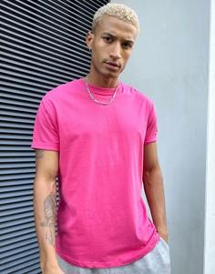 Длинная розовая футболка Bershka-Розовый