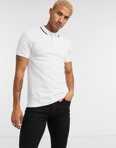 Белая футболка-поло с отделкой на воротнике Bershka-Белый