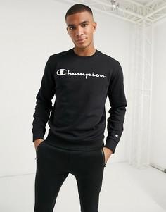 Черный свитшот с логотипом Champion-Черный цвет