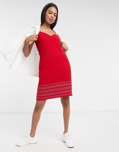 Красное платье мини с декоративными строчками Ted Baker-Красный