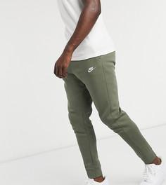 Джоггеры цвета хаки с манжетами Nike Tall Club-Зеленый