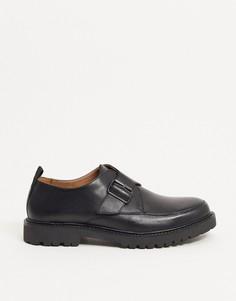 Черные кожаные монки на массивной подошве H by Hudson-Черный