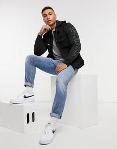 Черная джинсовая куртка с логотипом Hollister-Черный