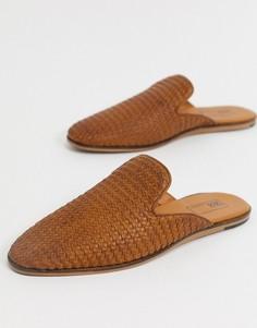 Светло-коричневые кожаные мюли-лоферы с открытой пяткой ASOS DESIGN-Светло-коричневый
