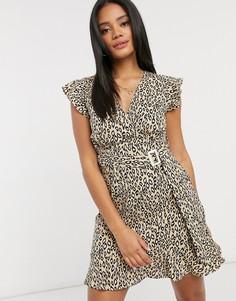 Платье мини в горошек с оборками AX Paris-Бежевый