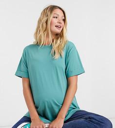 Сине-зеленая свободная футболка с отворотами на рукавах ASOS DESIGN Maternity-Зеленый