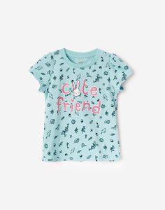 Мятная футболка с рисунками и блестящей надписью для малышки Gloria Jeans