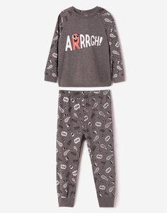 Серая пижама с рисунками для мальчика Gloria Jeans