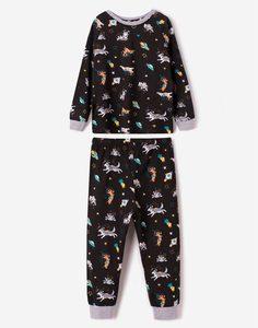 Чёрная пижама с космическим принтом для мальчика Gloria Jeans
