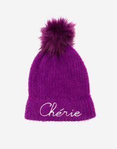 Фиолетовая шапка с меховым помпоном и надписью для девочки Gloria Jeans