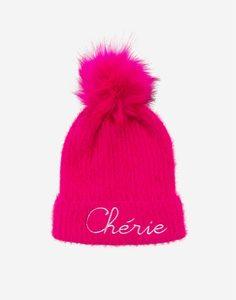 Розовая шапка с меховым помпоном для девочки Gloria Jeans