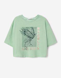 Мятная футболка oversize для девочки Gloria Jeans