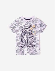 Белая футболка с камуфляжным принтом и волком для мальчика Gloria Jeans
