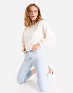 Молочный пушистый свитшот oversize Gloria Jeans