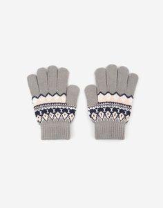 Серые перчатки с узором для девочки Gloria Jeans