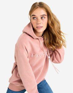 Розовое худи oversize с объёмной вышивкой Gloria Jeans