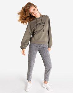 Хаки худи с вышивкой Gloria Jeans