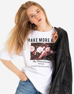 Белая футболка oversize с принтом Gloria Jeans