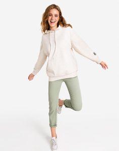 Бежевое худи oversize с принтом на спинке Gloria Jeans