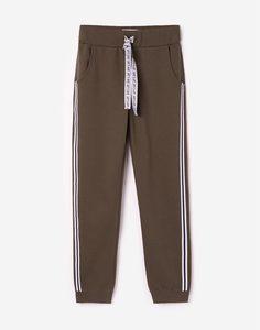 Хаки брюки-джоггеры с лампасами для девочки Gloria Jeans