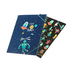 Папка для бумаг с резинкой Koopman Роботы/Космос в ассортименте