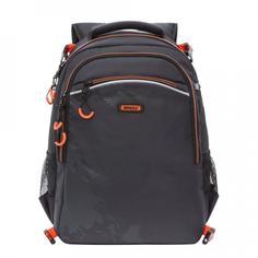 Рюкзак школьный Grizzly черно-оранжевый