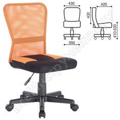 Кресло оператора, без подлокотников, комбинированное черное/оранжевое, brabix smart mg-313 531844