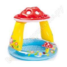 Детский надувной бассейн intex 102х89см гриб мухомор с навесом 57114