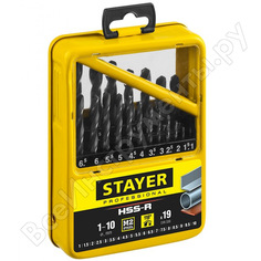 Набор сверл по металлу professional 1-10 мм, hss-r, сталь м2, 19 шт. stayer 29602-h19-m_z01