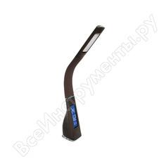 Настольный светильник camelion kd-817 c10 коричневый led 6 вт, 230в, сенс.,часы, термометр 13402