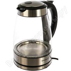 Стеклянный чайник ergolux elx-kg02-c42 серебристо-черный 13444