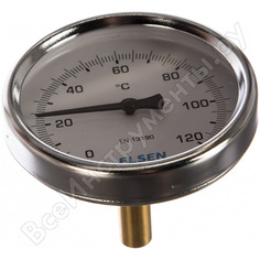"Термометр биметаллический 80 мм, 1/2"", шток 9 мм elsen et80.12"