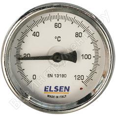 Термометр биметаллический 63 мм, накладной t c -от 0 до +120 elsen et63.00