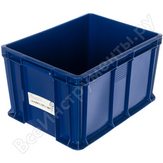 Сплошной ящик тара 400х300х230 мм, синий 18649