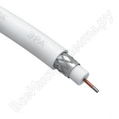 Коаксиальный кабель эра rg6u, 75 ом, ccs/, pvc, цвет белый б0044600