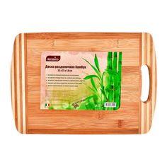 Доска Termico разделочная бамбуковая овальная с ручкой, 33 х 23 х 1.8 см