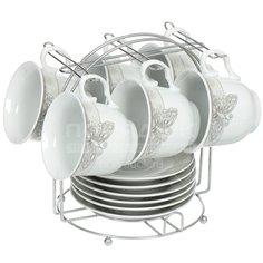 Сервиз чайный из керамики, 12 предметов, на подставке Вечерняя дымка DNN