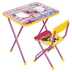 Набор детской мебели Nika Познайка2 Азбука3: Маша и медведь КП2/3 розово-сиреневый (стол, стул)