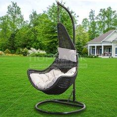 Качели садовые Кокон TZF-H020-A200H-7 черный ротанг с серой подушкой