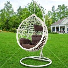 Качели садовые Кокон TZF-H056-A13812 белый ротанг с коричневой подушкой