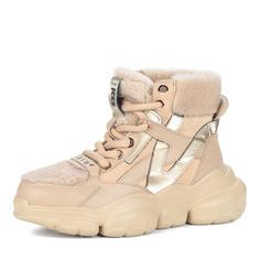 Ботинки Бежевые ботинки из комбинированных материалов на утолщенной подошве Respect