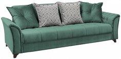 Прямой диван-кровать Ирис Лекко теал/Фибра геометрия 18 бежевый Bravo